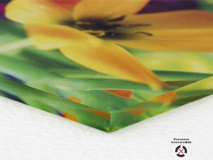 Prodotto | Stampa speculata su vetro acrilico trasparente con ultimo passaggio di bianco