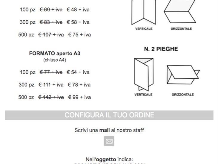 Scrivi una mail per configurare il tuo ordine